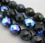 Czech Fire Polished Beads - 12mm - Jet AB (10)